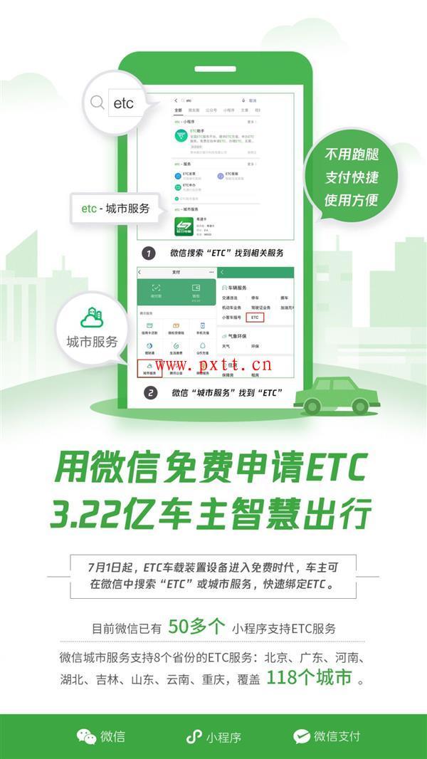 今日起用户可在微信直接办理ETC 目前已支持118城